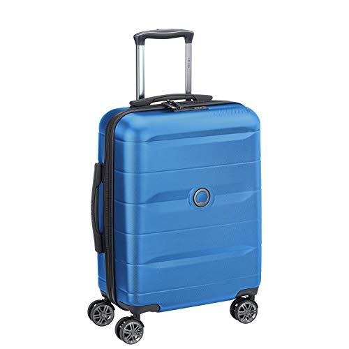 Delsey Paris Valigia Trolley Cabina 4 Doppie Ruote Slim 55 Cm, Blu