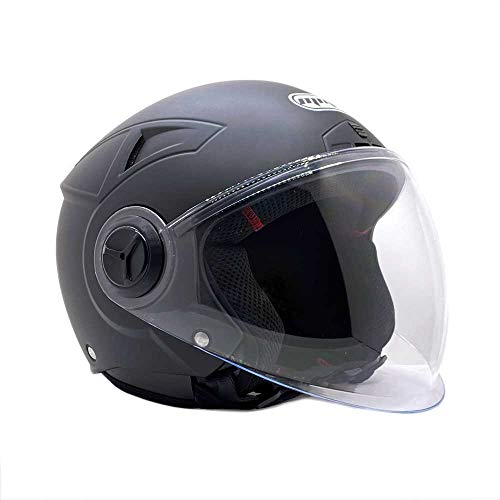 MMG 28 Motorcycle Scooter Pilot Open Face Helmet DOT, Matte Finish Black, Small