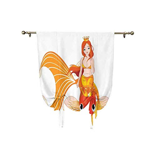 Cortina opaca con aislamiento térmico, diseño de sirena, con diseño de sirena, ideal para ir a caballo en un pez dorado, para nadar con animales, 76 x 107 cm, para dormitorio de niños