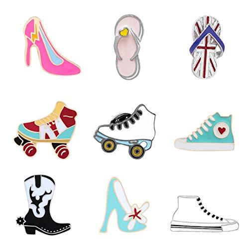 ZSCZQ Zapatos de Lona esmaltados Colección de alfileres Botas Tacones Altos Patines...