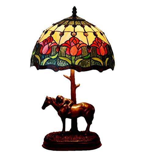 Yjmgrowing 12-inch rode tulp Tiffany stijl glazen schilderij tafellamp met hars paard basis slaapkamer nacht kunst verlichting, E27 (lamp niet inbegrepen)