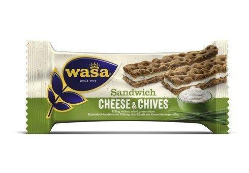 24 Riegel Wasa Sandwich Käse & Schnittlauch Cheese & Chives37g / Roggen Knäckebrot Riegel mit einer Füllung mit Käsegeschmack