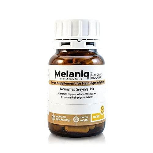 Suplemento Alimenticio Melaniq para la Pigmentación del Cabello – Restaura el Cabello Canoso - Apoyo la Melanina – Detiene el Encanecimiento Prematuro – Anti edad, de base natural – Vegetariano - 1 mes