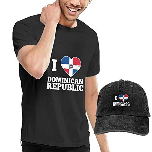 Hdadwy Amo la Bandera del corazón República Dominicana Moda Hombres Camisetas Mangas Cortas y combinación de Sombreros de Mezclilla