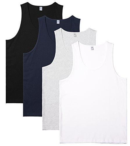 LAPASA Pack de 4 Camisetas de Tirantes para Hombre de Algodón 100% (Gris: 90%, 10% Viscosa/Rayón) (Multicolor2(Versión Tejido Liso), S (Largo 71, H-H 26, Pecho 86-91 cm))