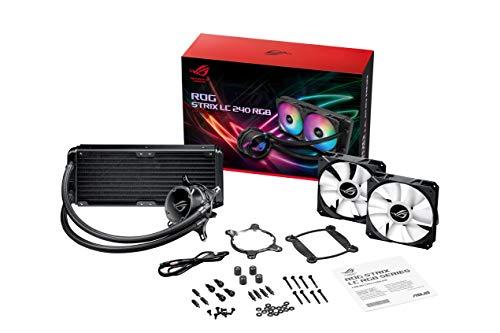ASUS ROG STRIX LC 240 RGB Cooler CPU All-in-One ROG con Illuminazione Addressable RGB, Aura Sync, Rivestimento Pompa NCVM e Ventola del Radiatore ROG 120 mm