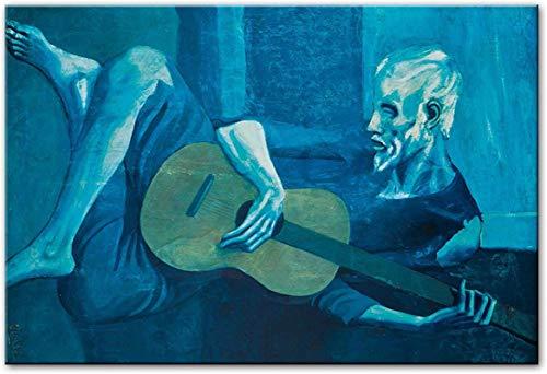 HHLSS Magnífica Imagen 50x60cm sin Marco Pablo Picasso El Guitarrista Pinturas al óleo Reproducciones de Obras de Arte de fama Mundial Cuadros de Arte de Pared para el hogar