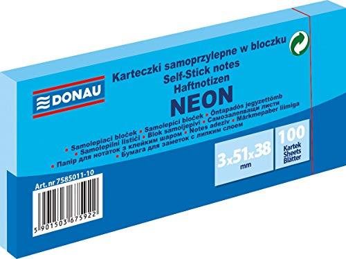 DONAU 7585011-10 Notes Würfel Haftnotizen Neon-Blau Selbstklebende Haftnotizzettel Sticky Notes 38x51mm, 3x100 Blatt, Notizblock klebend für Büro Schule