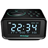 Reacher Radio Réveil avec Double Alarme,Radio FM Numérique Thermomètre Intérieur LCD Affichage Dimmable,Snooze Fonction Dual...