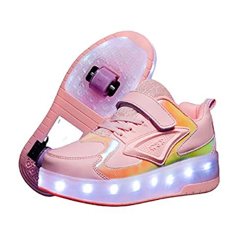 Recargable LED Luz Moda Aire Libre Parpadea Ajustable Rueda Roller Automática de Skate Zapatillas con Ruedas Zapatos Sneakers Running Shoes para Unisex Niños Niñas Pink,EU36