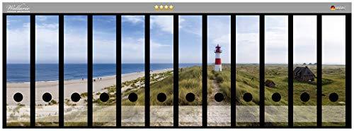 Wallario Ordnerrücken Sticker Am Strand von Sylt, Leuchtturm auf der Düne, Panorama in Premiumqualität - Größe 72 x 30 cm, passend für 12 breite Ordnerrücken