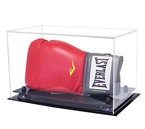 Better Display Cases Clear Acrylic Single or Double Boxing Glove Display Case with Black Risers (A011-BR)