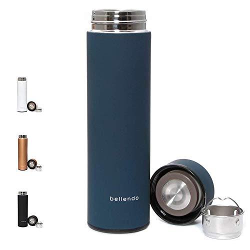 bellendo® Edelstahl Isolierflasche klein 0,5 l - Kleine Design Isolierkanne Teeflasche 500ml - Kaffee und Tee to Go Flasche mit Teesieb, blau