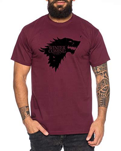 Coming Game Camiseta de Hombre Cool Thrones Shirt, Größe2:Small, Farbe2:Borgoña