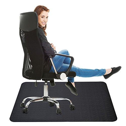 Office Chair Mat for Hard Floor : 35x47 inches Straight Edge Rectangular Sturdy Multi-Purpose Polyethylene + EVA Desk Chair Mat for Hardwood Floor (Black)