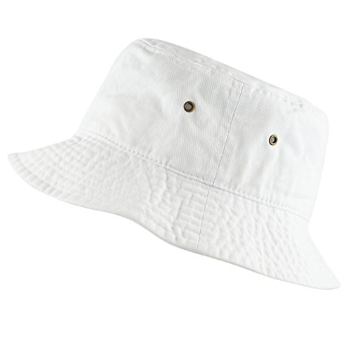The Hat Depot 300N Unisex 100% Cotton Packable Summer Travel Bucket Hat (S/M, White)