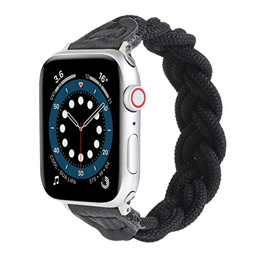 Black, Watch Bands Compatible with Braided Solo Loop Apple Watch Band 38mm 40mm 42mm 44mm,Soft Stretchy Braided Wristband for iWatch Series 1/2/3/4/5/6/SE