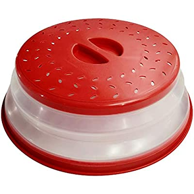 OUZIFISH Microwave Plate Cover 10.5 inch Collapsible Food Plate Lid Cover - BPA Free, Easy Grip, Microwave Plate Guard Lid With Steam Vent & Colander Strainer for Fruit (Big Red)
