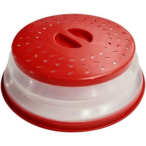 Ouziffish Couvercle pour assiette de micro-ondes 26,7 cm pliable – Sans BPA, prise en main facile, couvercle de protection pour micro-ondes avec grille d'aération et passoire pour fruits Big Red