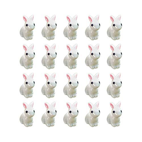 EXCEART 35 Unids Pascua Mini Figuritas de Conejito Estatua de Jardín Resina Miniatura Conejo Figura Animales Personajes Juguetes Pastel Topper para Acuario Microlandscape Decoración para