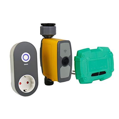 DOLA Conexión WiFi Controlador de riego por aspersión de riego por Temporizador, con Puerta de Enlace y Sensor de Humedad del Suelo Sistema de riego Inteligente