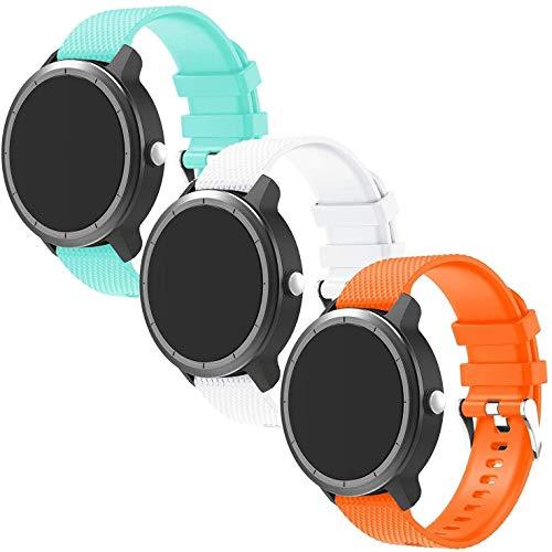 Gransho Bracelet Montre Silicone 20mm, Replacement Bande Bracelet Chaîne de Montre avec Fermoir en Métal Réglable (20mm, Sarcelle + Blanc)