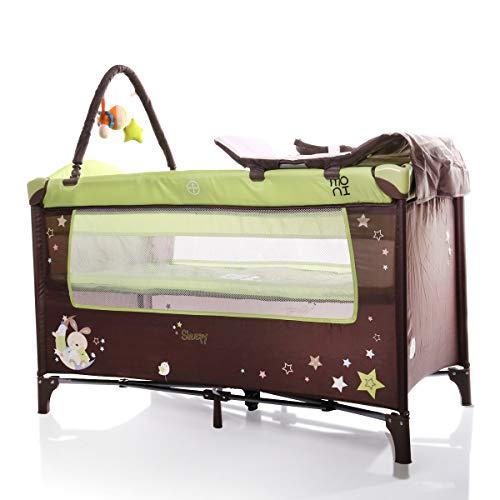 Cuna de viaje, Piscina de sueño, Cambiador, Colchón, Arco de juego, Entrada lateral, color:verde claro