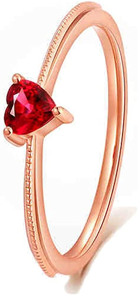 De Lapoll 14K Solid Rose Gold Natural Pigeon Blood Ruby Rings Engagement Promise Rings Anniversary for Ladies