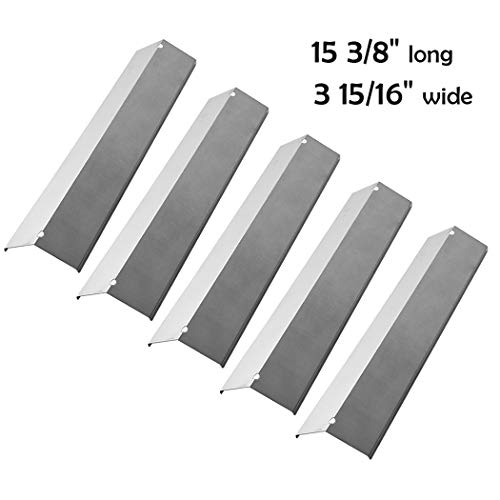 YIHAM KS752 Replacement Parts for Brinkmann 810-2511-S 810-2512-S 810-2545-W Gas Grill Heat Shield Plate Tent BBQ Flame Tamer Burner Cover, 15 3/8 inch x 3 15/16 inch, Stainless Steel, Set of 5