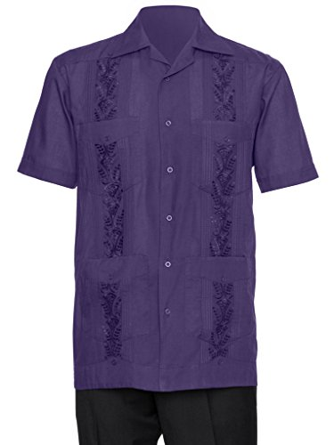 Gentlemens Collection Guayabera Herren Hemd – bestickt - Violett - X-Groß