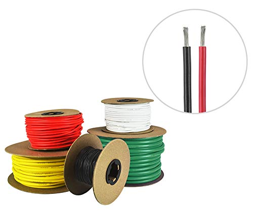 14 AWG Marine Wire -Tinned Copper Primary Boat Cable - 5 Feet Red, 5 Feet Black - Made in The USA