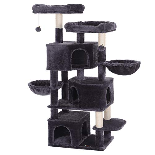 FEANDREA Large Cat Tree with 3 Cat Caves, Multilayer Cat Tower Suitable for Kittens, Old Cats, Stable Smoky Gray Cat Condo, 21.7 x 15.7 x 64.6 Inches UPCT98G