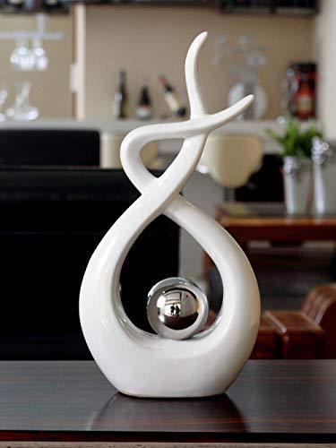 GCP Estatua Esculturas Electrochapa Creativa Bola de Plata Estatua de cerámica Artesanía casera Decoración de la habitación Objetos Oficina Líneas retorcidas abstractas Escultura de Porcelana