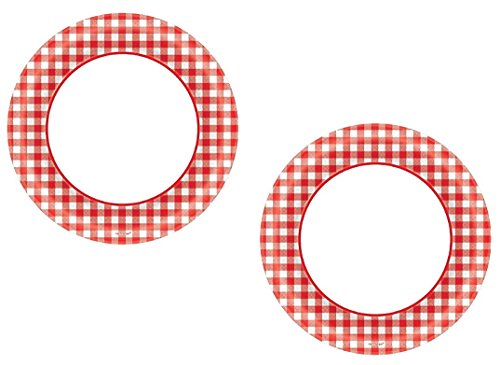 Disposable Classic Picnic Red Gingham Border Round Plates Party Tableware, Paper, 6, (2 Packs of 40)