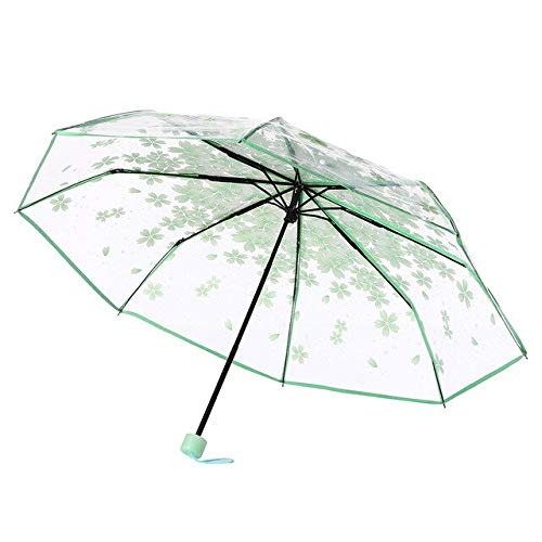 BDWS Paraguas Equipo de Lluvia Transparente Claro Cereza Paraguas Flor Seta Apolo Sakura 3 Veces Paraguas Lluvia Mujer a Prueba de Viento Mini Soleado UV China Verde