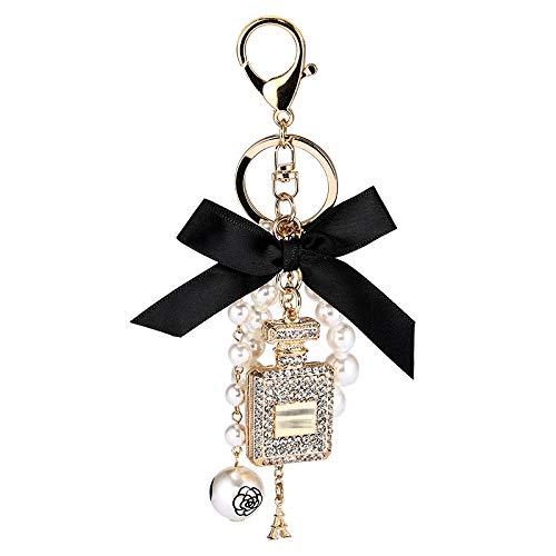 beizi Llavero de botella de perfume con perlas de imitación para llavero de coche, accesorio para colgante de lazo, llavero de moda (color : BS)