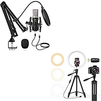 TONOR TC-2030 USB Microphone Kit with 12 inch Selfie Ring Light for Zoom Conference/YouTube/Makeup/Streaming