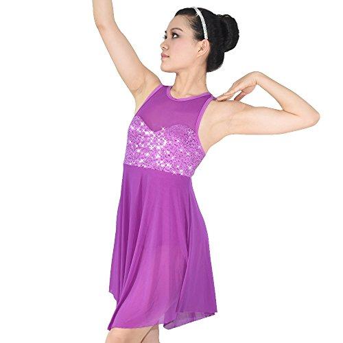 MiDee Lyrical Dance Costume Dress Illusion Sweetheart Sequins Trianglar Cut Skirt