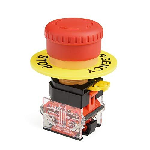APIELE Interruptor selector, 22 mm, seta roja, interruptor de presencia de emergencia, LA36-11ZS