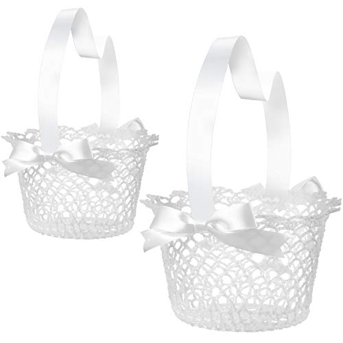 Boao White Handle Wedding Flower Girl Baskets, 2 Packs