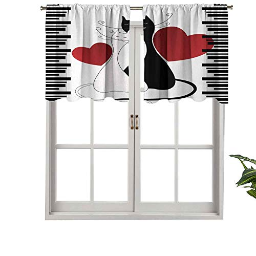 Hiiiman Curtain Valances Rod Pocket Window Curtains Romantic Kittens Pets Couple Two Tails Hearts Black, Set of 1, 54'x18' for Kitchen Window