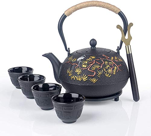7 Pieces Japanese Cast Iron Teapot Cup Set Tea Kettle with Infuser and Trivet40 oz