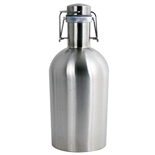 Thirsty Rhino Remba, 64 oz Stainless Steel Beer Growler Jug, Brushed Silver (Set of 1)
