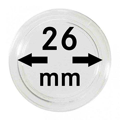 LINDNER Das Original Münzkapseln Innen-Ø 26 mm, 10er-Packung, z.B. für 2 Euro-Münzen