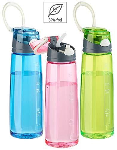 PEARL sports Tritan-Trinkflasche: 3er-Set BPA-freie Kunststoff-Trinkflaschen mit Einhand-Verschluss (Trinkflasche auslaufsicher)