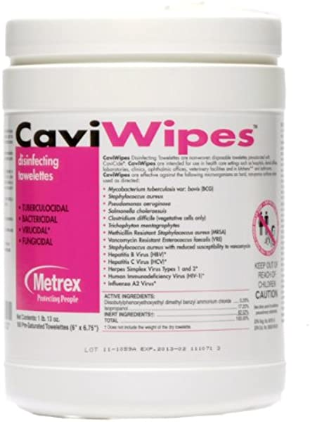 CaviWipes Metrex Disinfecting Towelettes Canister Wipes 160 Count