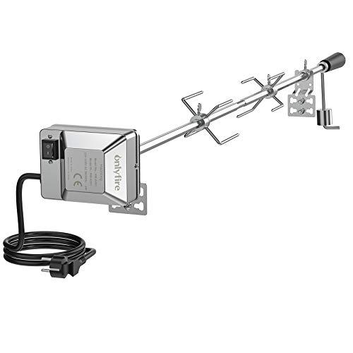 Onlyfire Universal Parrilla Kit de reemplazo del asador para Asar varas - 45'' X 1/2 '' Hexagonal Spit Motor eléctrico/Barra (no caben asador de Gas Weber)