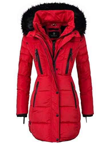 Marikoo Damen Winter Mantel Steppmantel Moonshine (vegan hergestellt) Rot Gr. XL