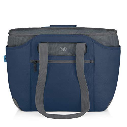 alfi Thermo-Kühltasche, isoBag mittel 23 Liter - Isolierte Einkaufstasche aus Polyester, dunkelblau 57 x 38 x 50 cm - 2in1, Isoliertasche inkl. extra Tragetasche - 0007.296.812