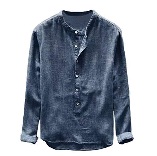 ARbuliry Männer Baumwollhemden Langarm-Freizeithemd Einfarbiger Stehkragen Weißer Knopf, Tägliche Freizeit Lose Hemden